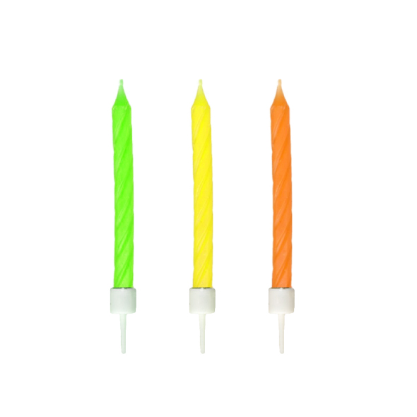 Narodeninové sviečky neón so stojančekom 60 mm [12 ks]