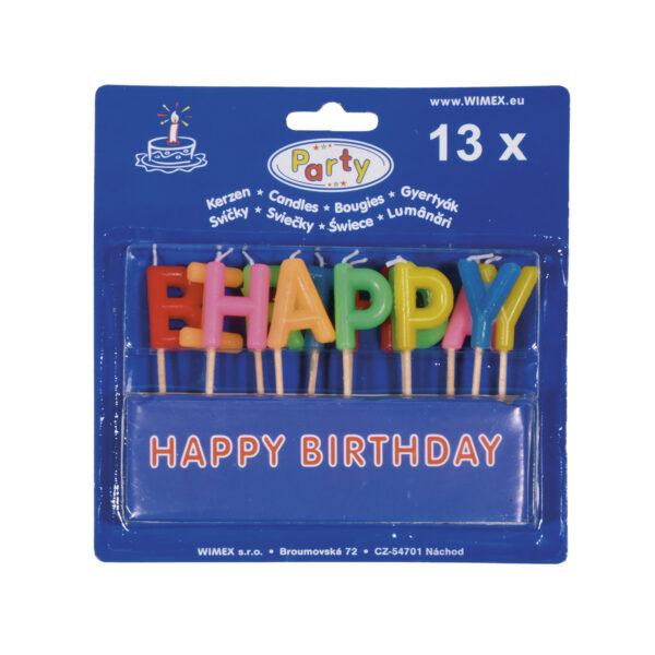 Párty sviečka HAPPY BIRTHDAY na špajdli 65 mm [13 ks]