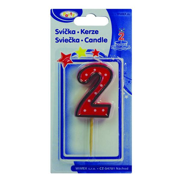 """Číslová sviečka na špajdli """"2"""" 50 mm [1 ks]"""