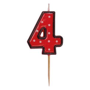"""Číslová sviečka na špajdli """"4"""" 50 mm [1 ks]"""