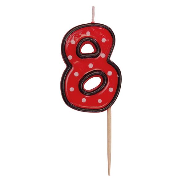 """Číslová sviečka na špajdli """"8"""" 50 mm [1 ks]"""
