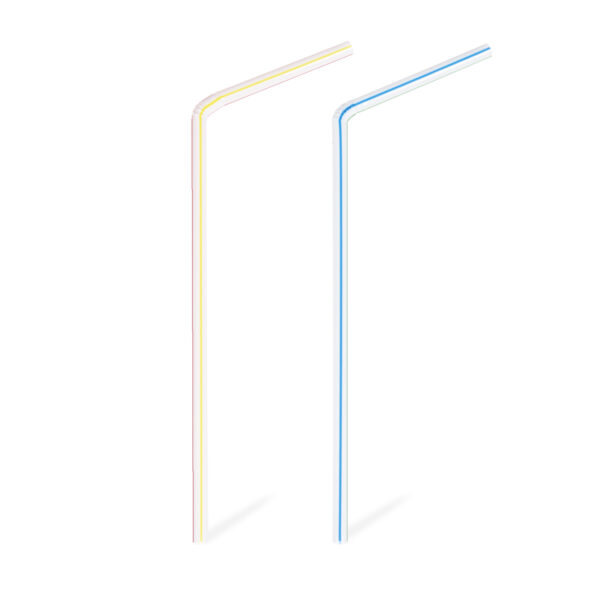 Slamky flexibilné pruhované 21 cm, ø 5 mm [40 ks]