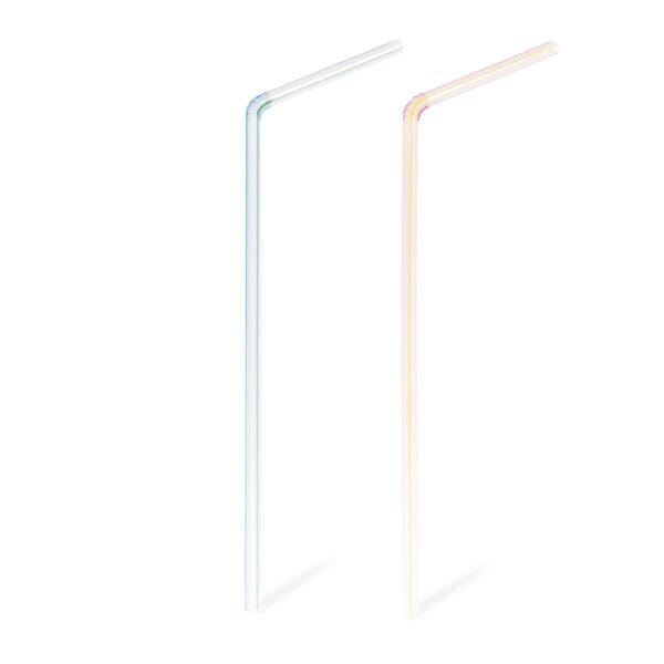 Slamky flexibilné číré pruhované 24 cm, ø 5 mm [1000 ks]
