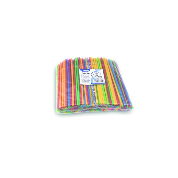 Slamky flexibilné farebné mix 24 cm, ø 5 mm [250 ks]