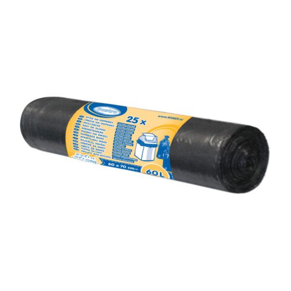 """Vrecká do koša """"extra pevné"""" čierne 60x70cm, 60 l [25 ks]"""