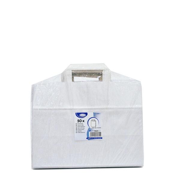 Papierové tašky 32+17 x 25 cm biele [50 ks]