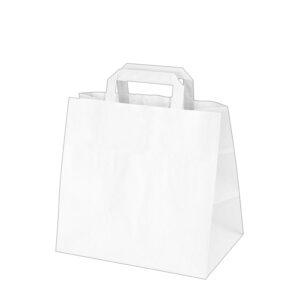 Papierové tašky 32+21 x 27 cm biele [50 ks]