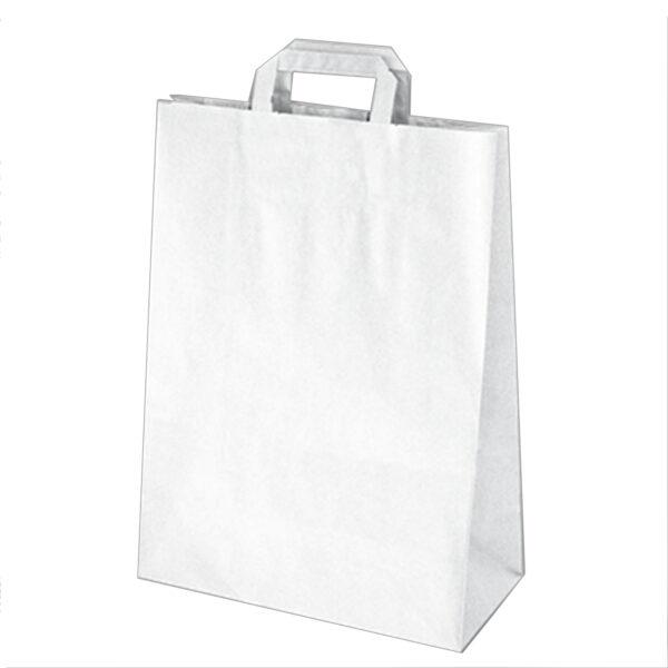Papierové tašky 32+15 x 43 cm biele [50 ks]