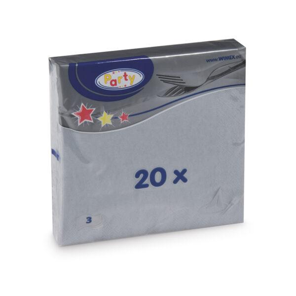 Obrúsky 3-vrstvé, 33 x 33 cm šedé [20 ks]