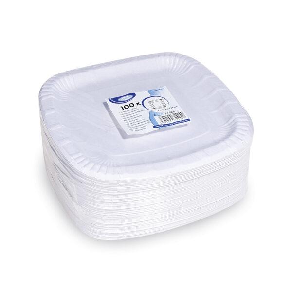 Papierové taniere štvorcové 24 x 24cm, nepremastiteľné [100 ks]