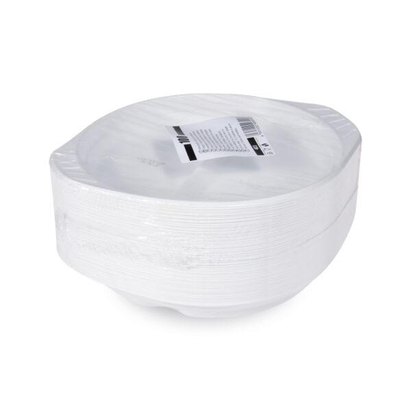 Tanier s uškami, delený na 2 porcie, biely (PP) ø 22 cm [100 ks]