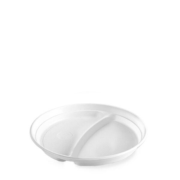 Tanier delený na 2 porcie, biely (PP) ø 22 cm [100 ks]
