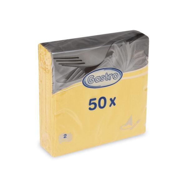 Obrúsky 2-vrstvé, 33 x 33 cm žlté [50 ks]