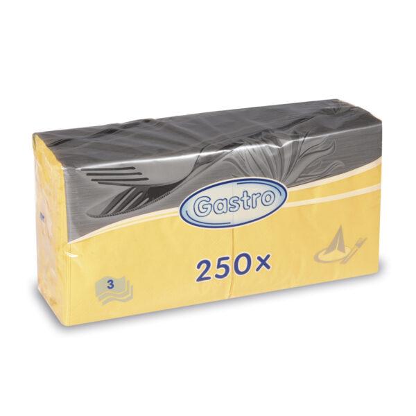 Obrúsky 3-vrstvé, 33 x 33 cm žlté [250 ks]