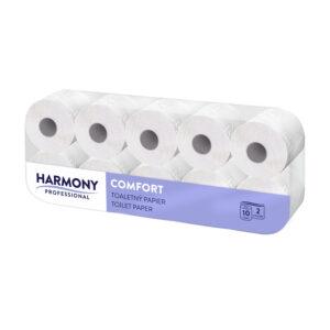 """Toaletný papier biely 2-vrstvý """"Harmony Professional"""" 200 útržkov [10 ks]"""